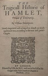 Early cover of Shakespeare's play, Hamlet.