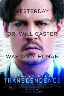 Poster for the movie Transcendence, featuring Johnny Depp.